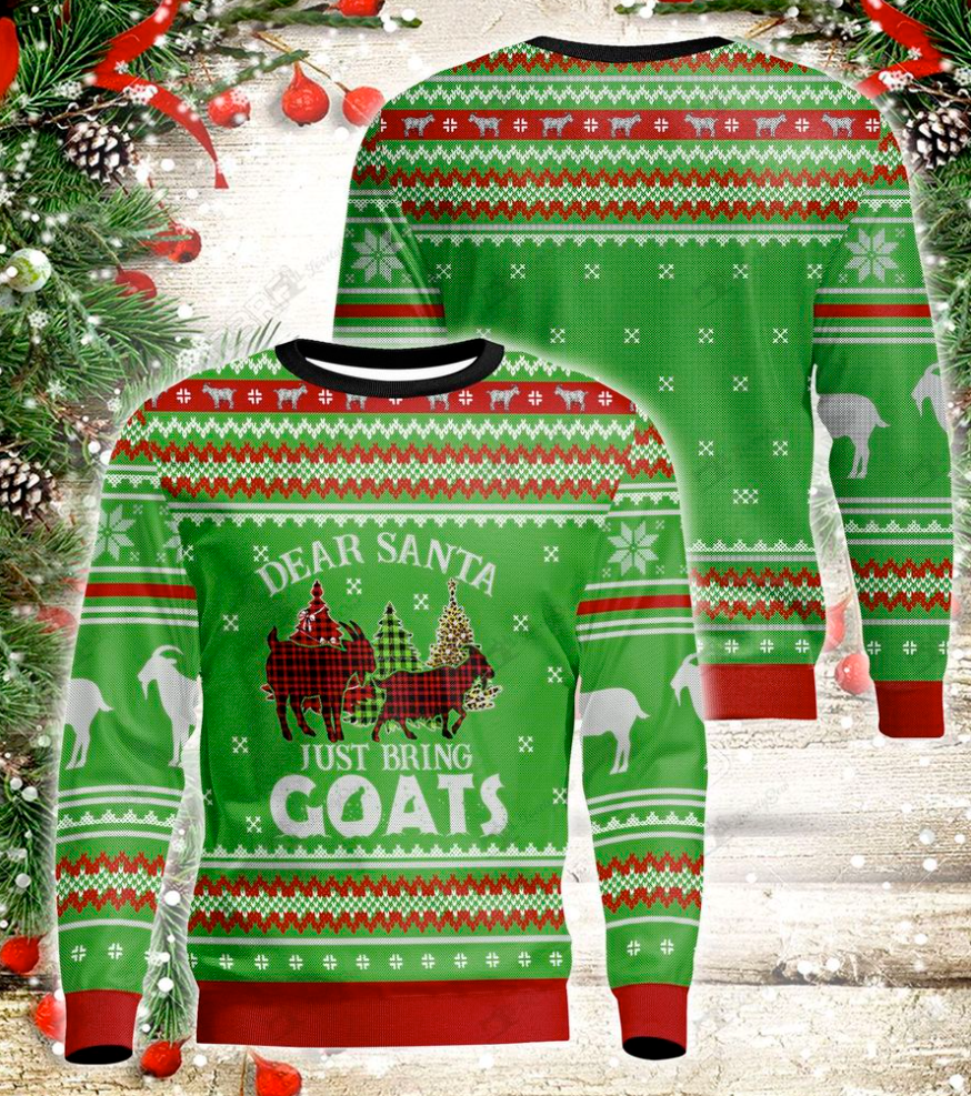 Dear Santa just bring goats 3D ugly sweater