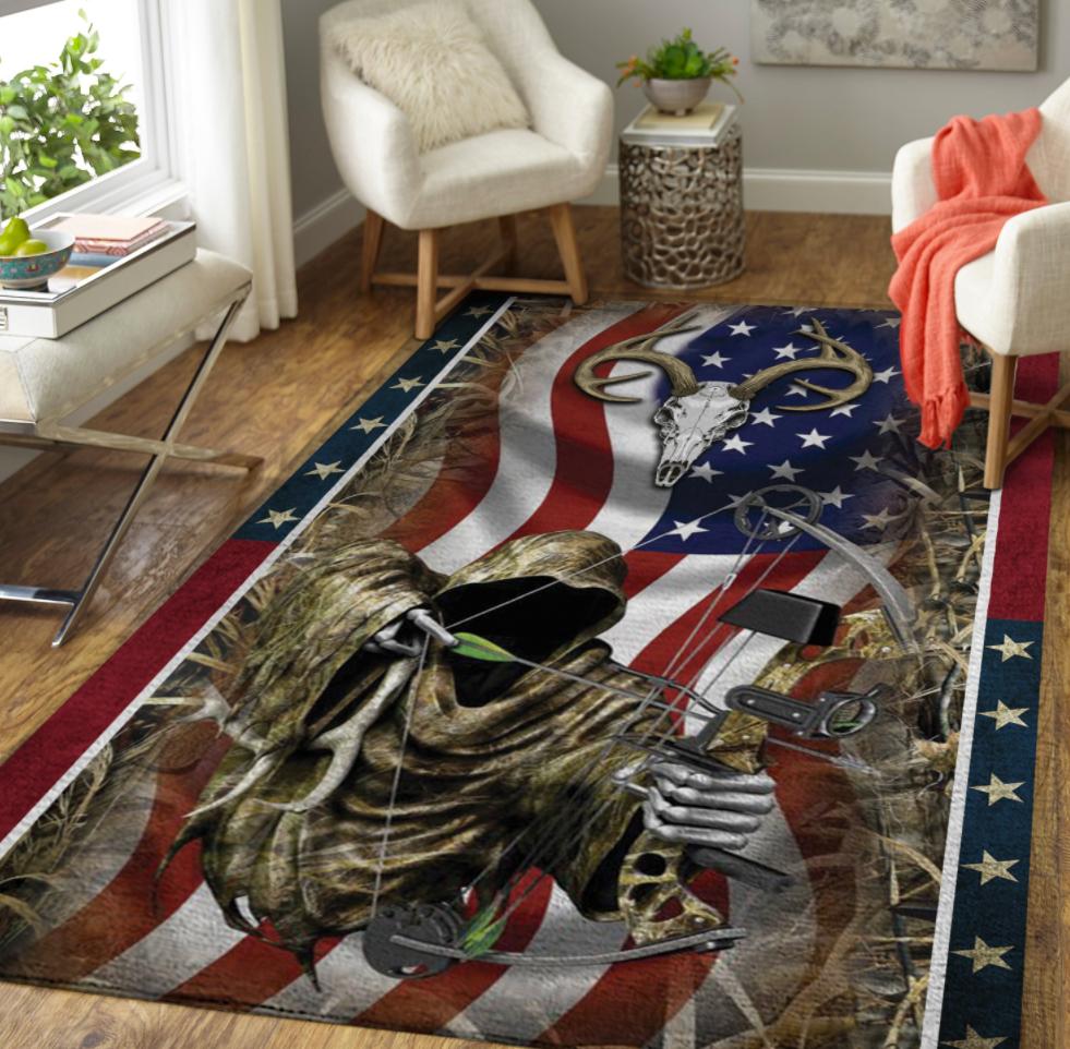 Deer bow hunting American flag rug 1