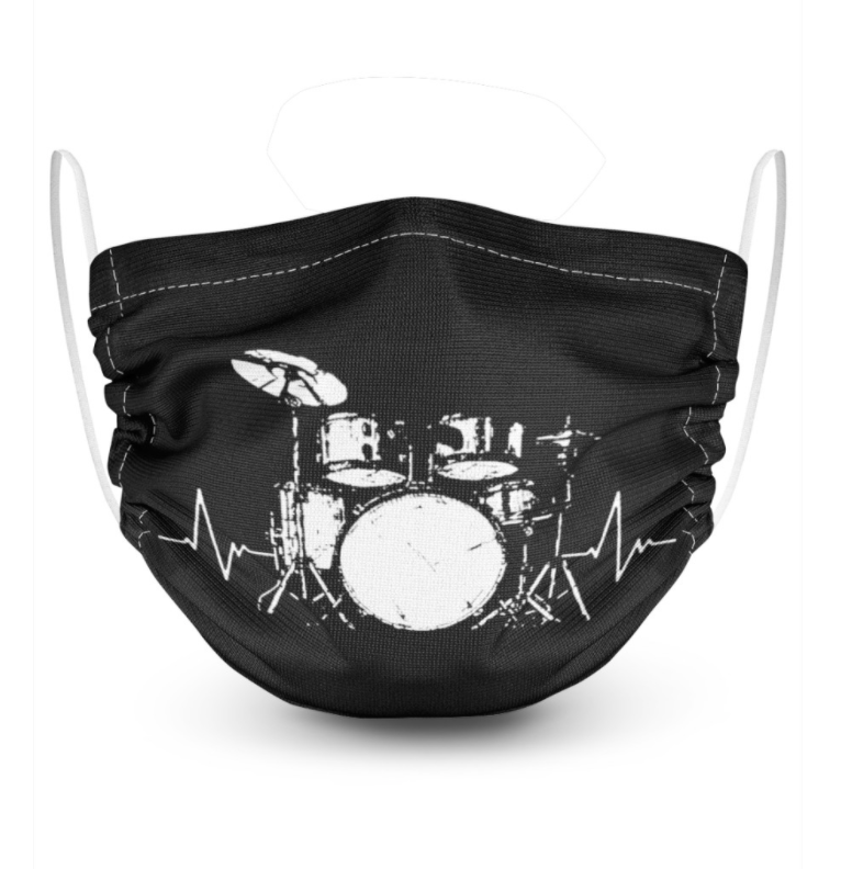 Drum set black and white face mask