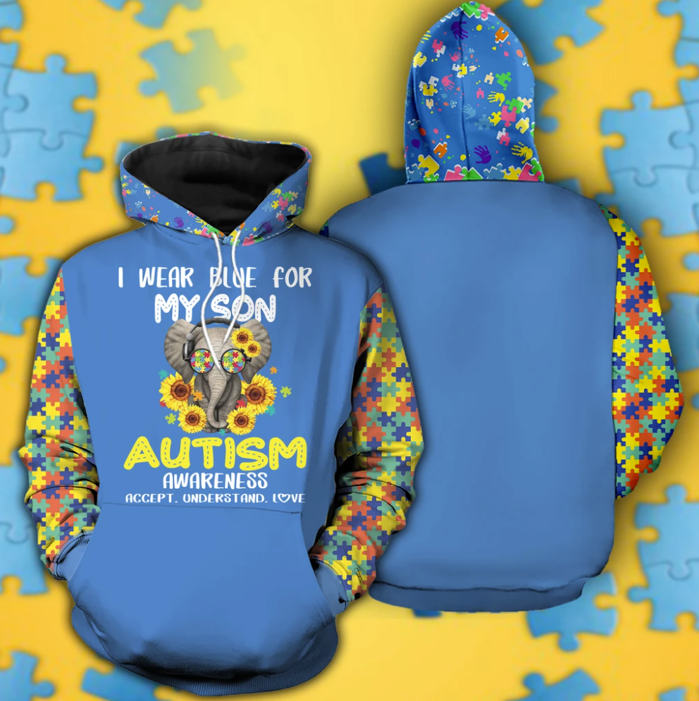 Elephant i wear blue for my son autism awareness all over printed 3D hoodie