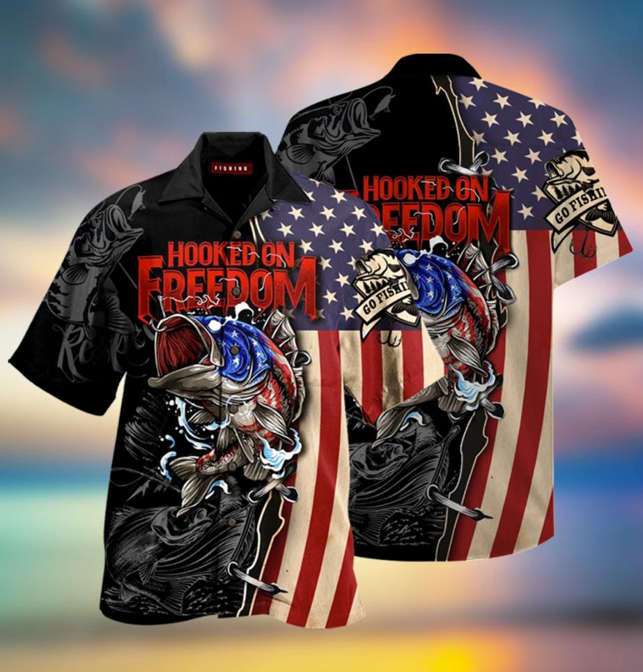 Fishing hooked on freedom hawaiian shirt