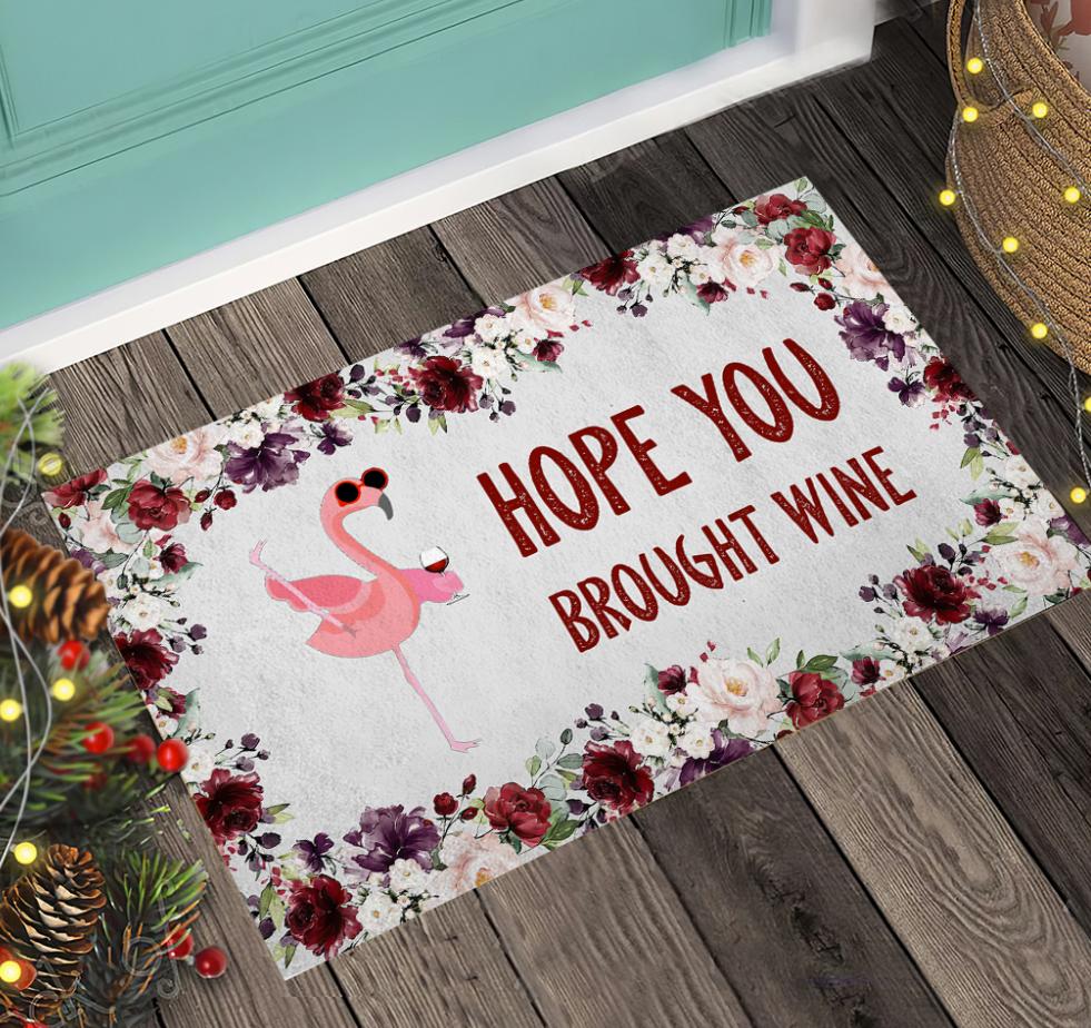 Flamingo hope you brought wine doormat 1