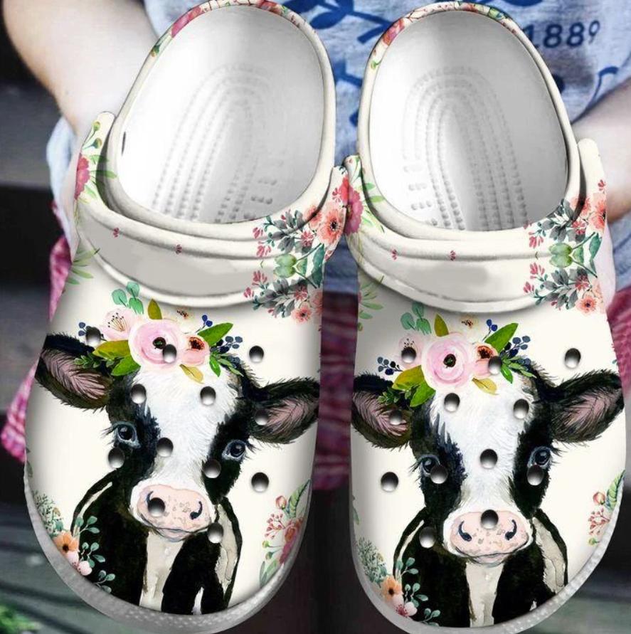 Floral cow crocs crocband