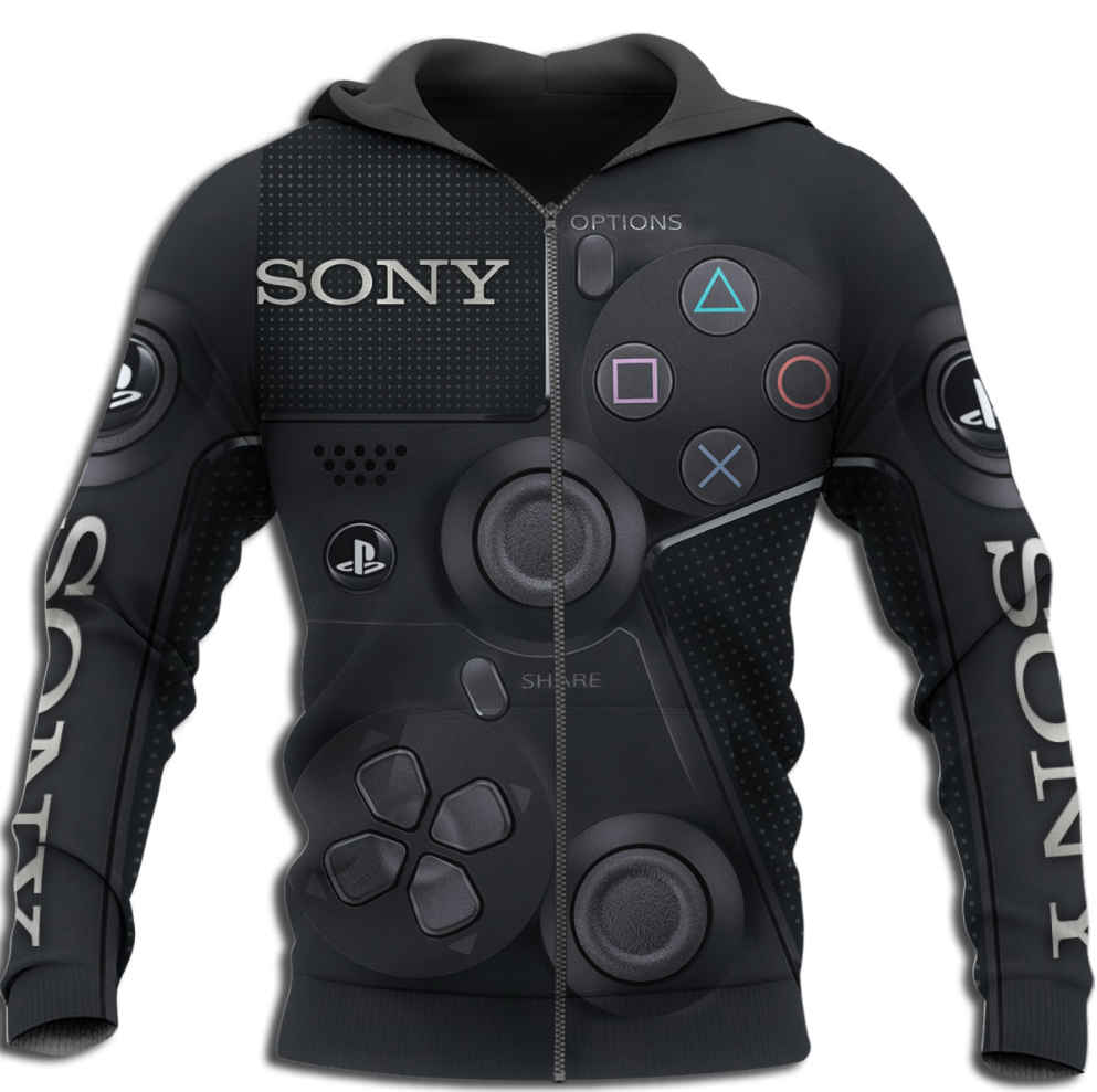 Gamepad Sony all over printed 3D zip hoodie