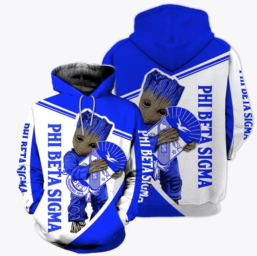 Groot hug Phi Beta Sigma all over printed 3D hoodie