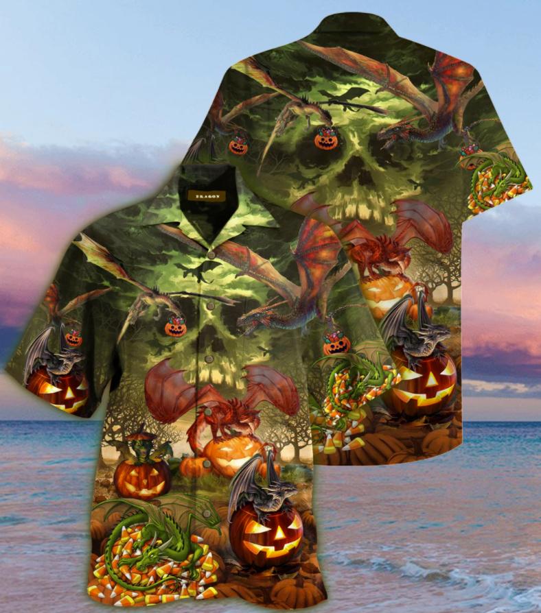 Halloween dragon and pumpkin hawaiian shirt