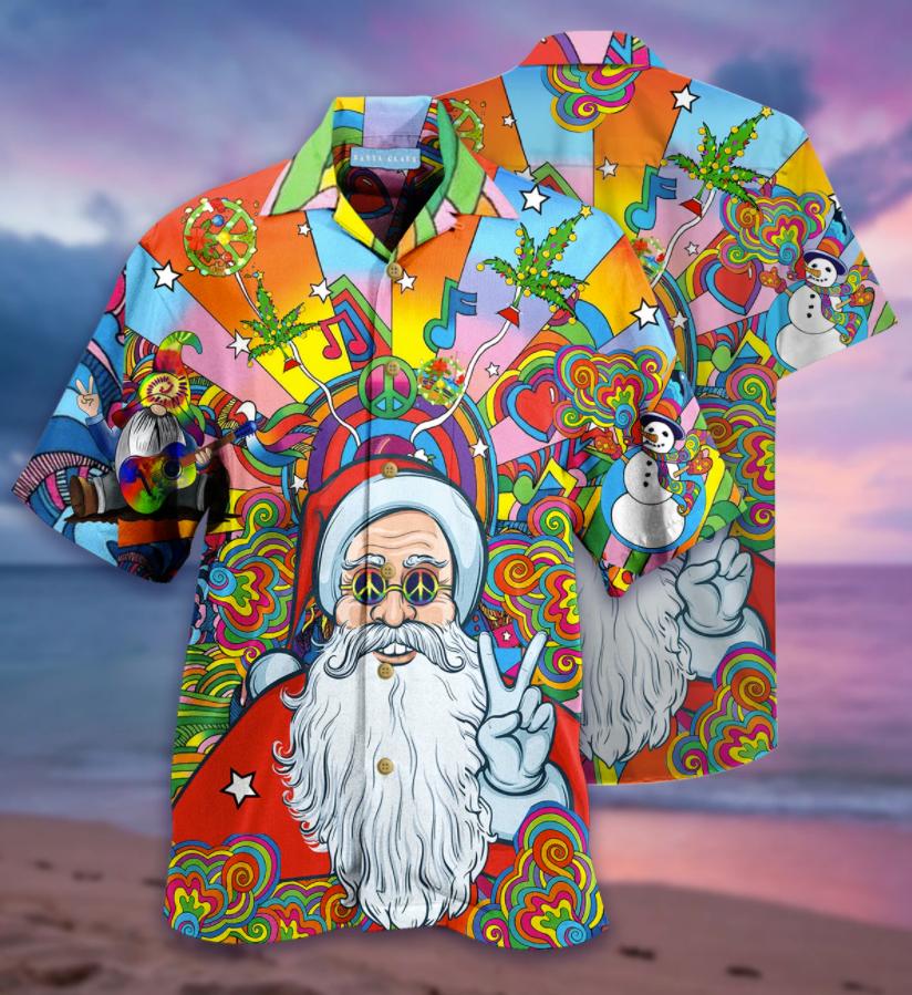 Hippie Santa Claus hawaiian shirt
