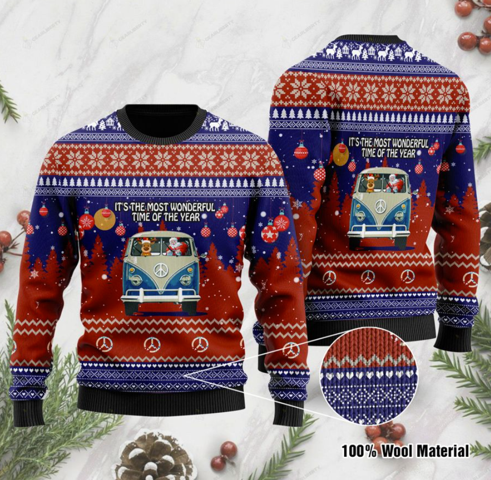 Hippie car it's the most wonderful time of the year ugly sweater