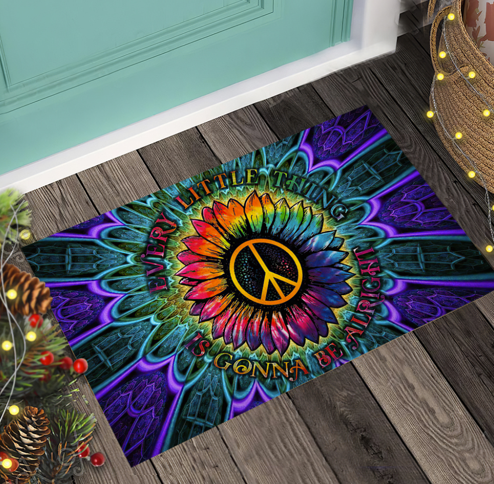 Hippie sunflower every little thing is gonna be alright doormat