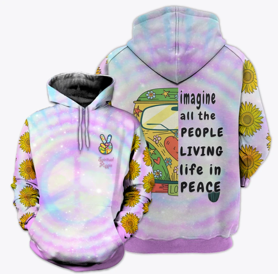 Hippie sunflower imagine all the people living in peace all over printed 3D hoodie