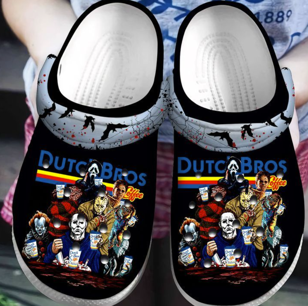 Horror movie characters Dutch Bros coffee crocs crocband