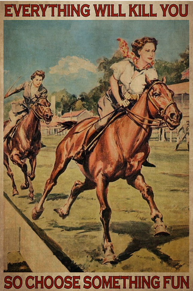 Horse racing everything will kill you so choose something fun poster