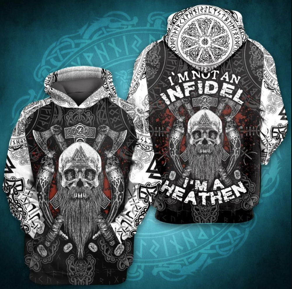 I'm not an infidel i'm a heathen all over printed 3D hoodie