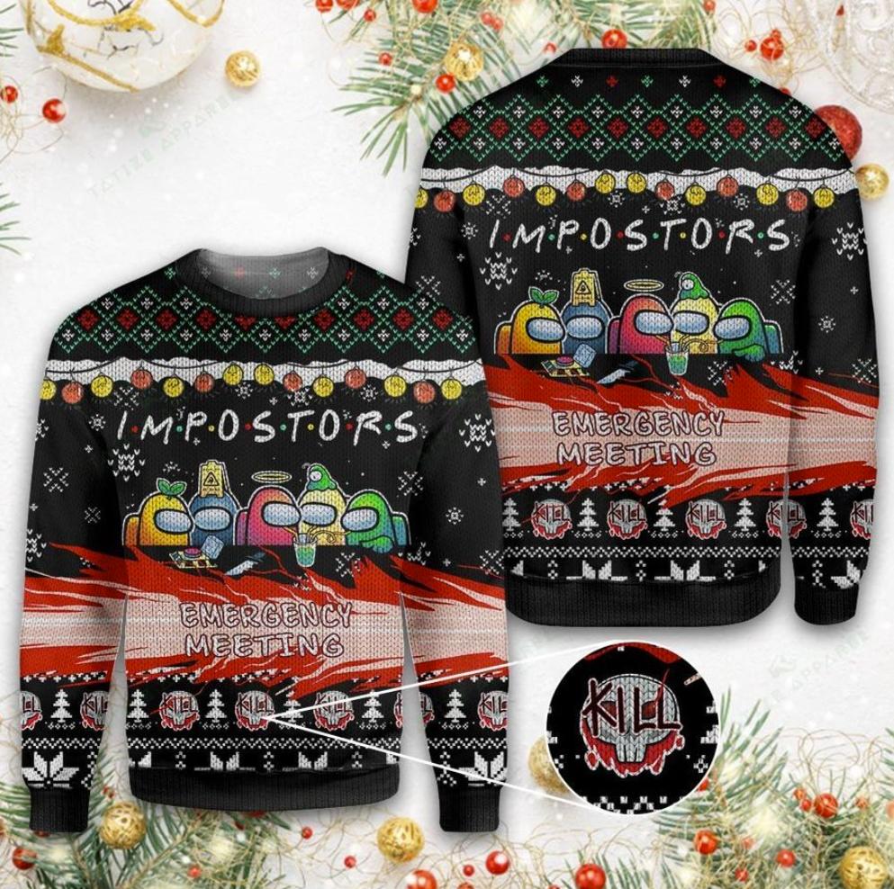 Impostors emergency meeting 3D ugly sweater