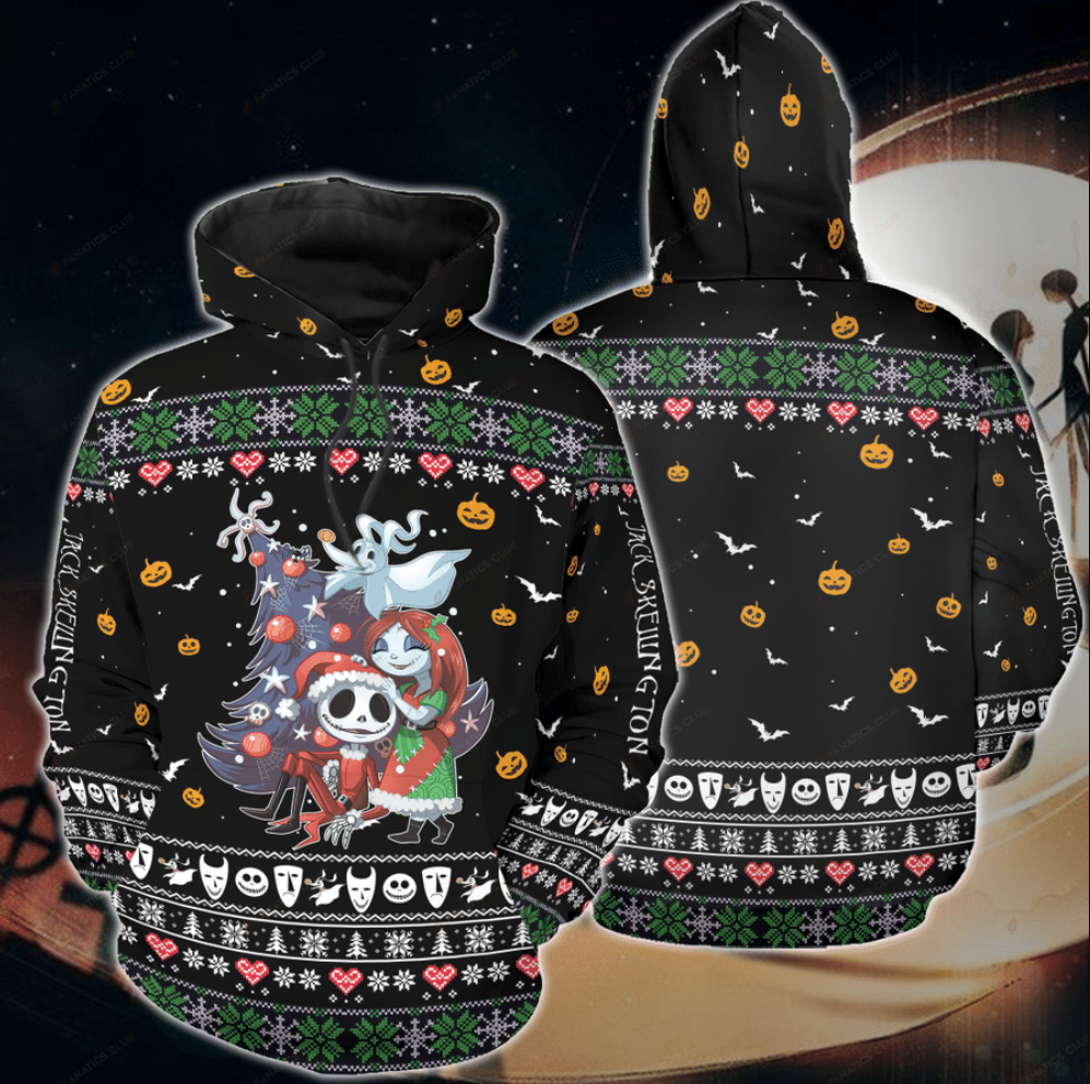 Jack Skellington and Sally ugly Christmas all over printed 3D hoodie