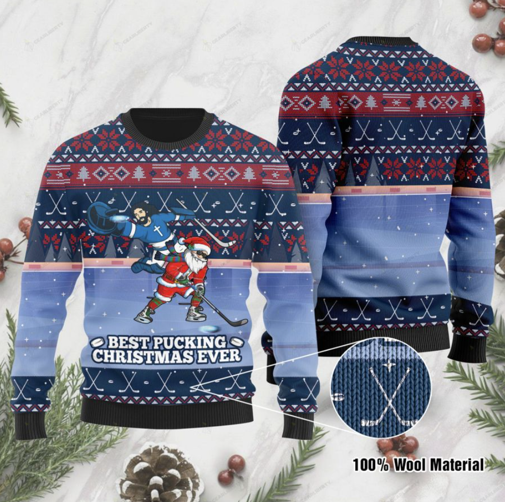 Jesus and Santa Claus best pucking Christmas ever ugly sweater