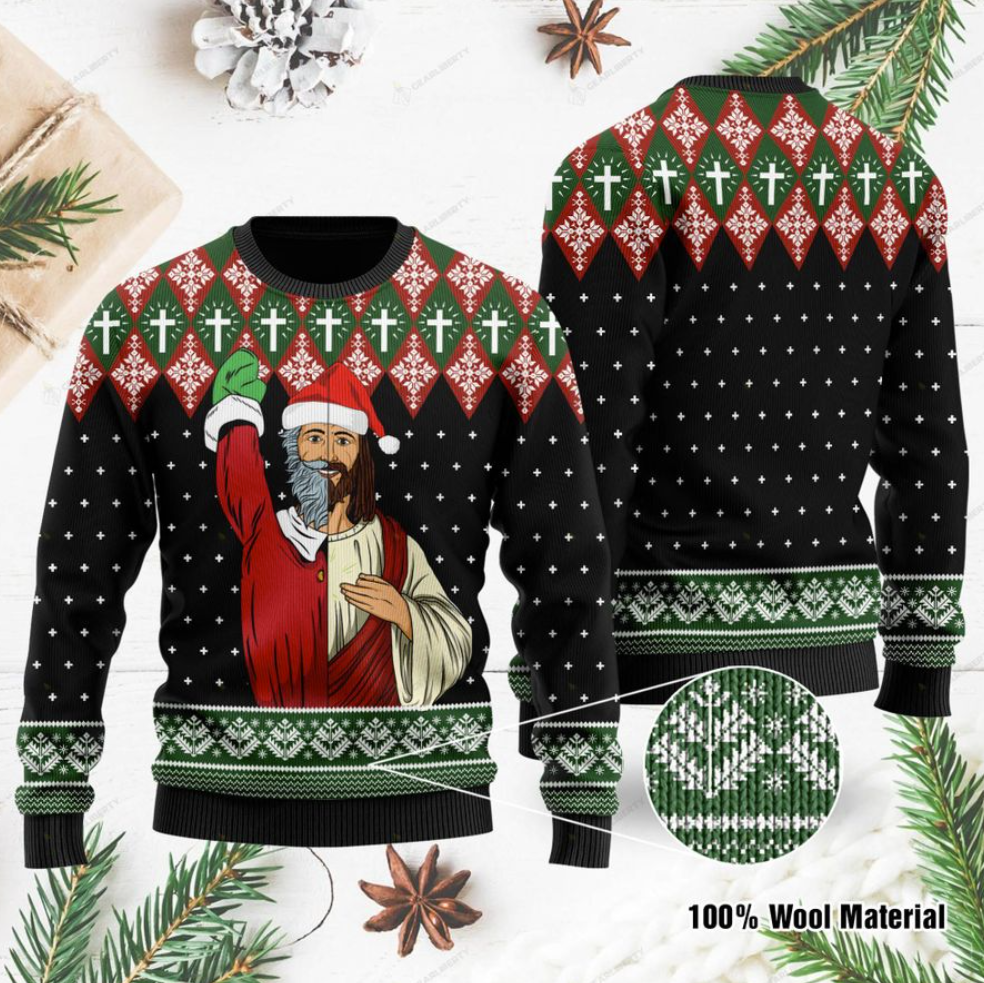 Jesus and Santa Claus ugly sweater