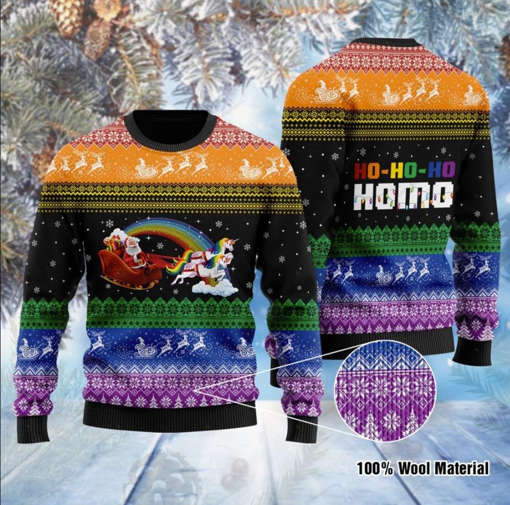 LGBT Santa Claus and unicorn hohoho homo ugly sweater