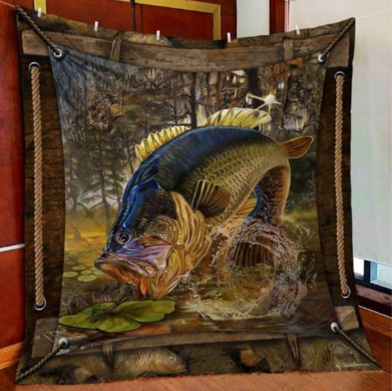 Largemouth bass fishing quilt