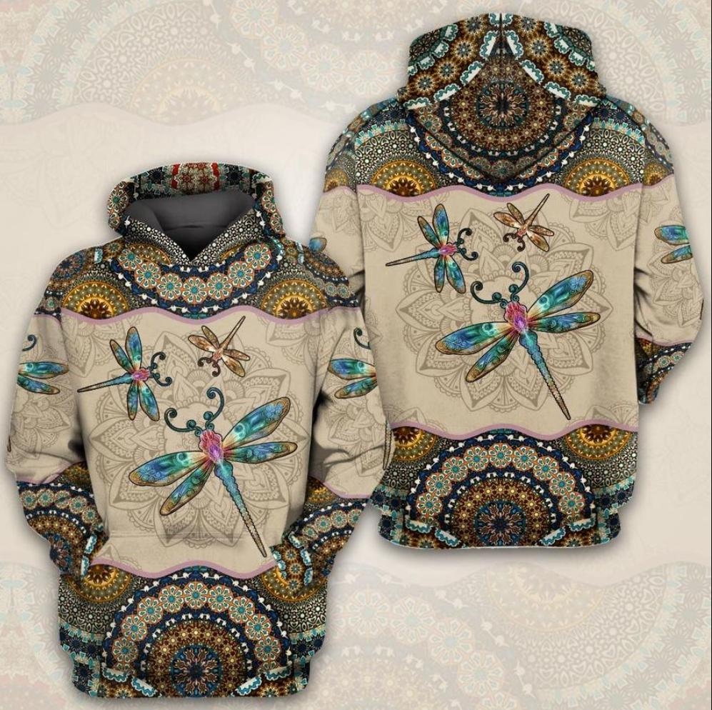 Mandala dragonfly all over printed 3D hoodie