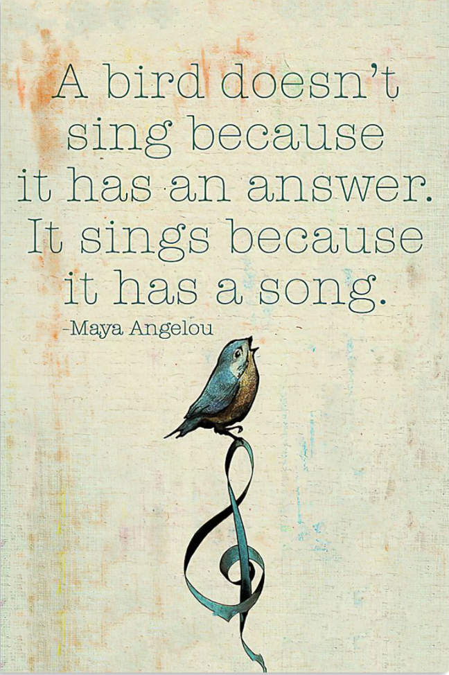 Maya Angelou a bird doesn't sing because it has an answer poster