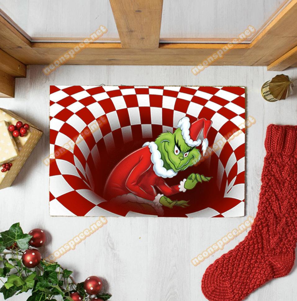 Merry Christmas Grinch Illusion Doormat