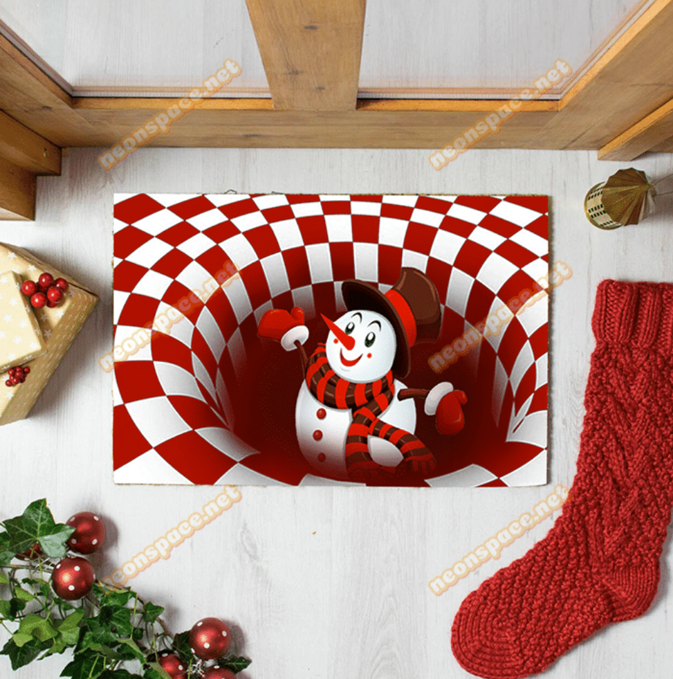 Merry Christmas Snowman Illusion Doormat