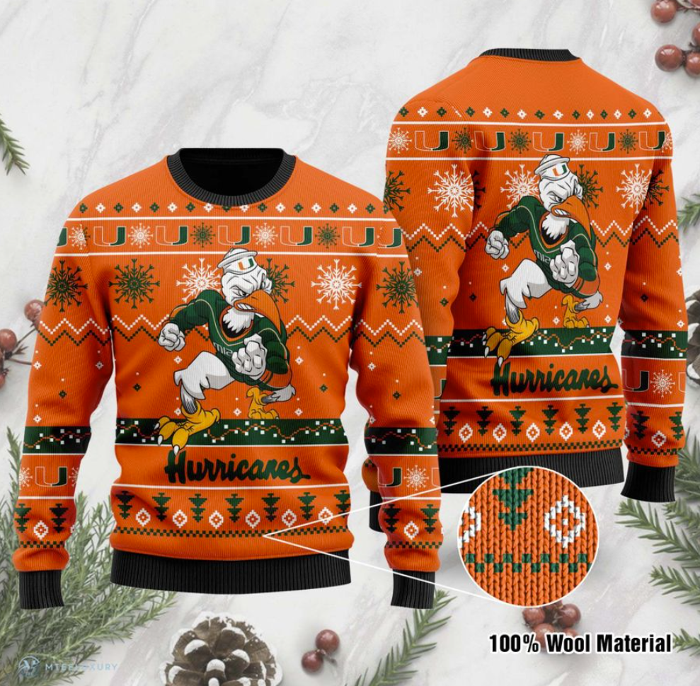 Miami Hurricanes football ugly sweater