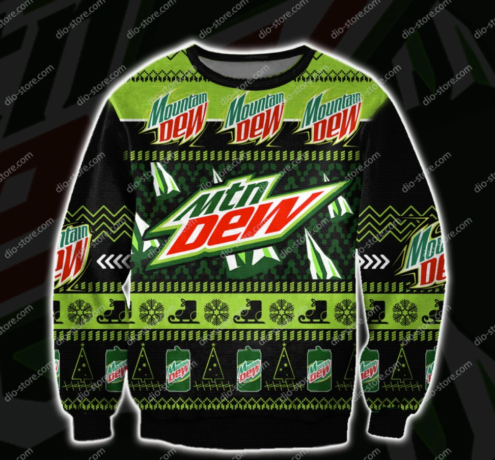 Mountain Dew 3D ugly sweater