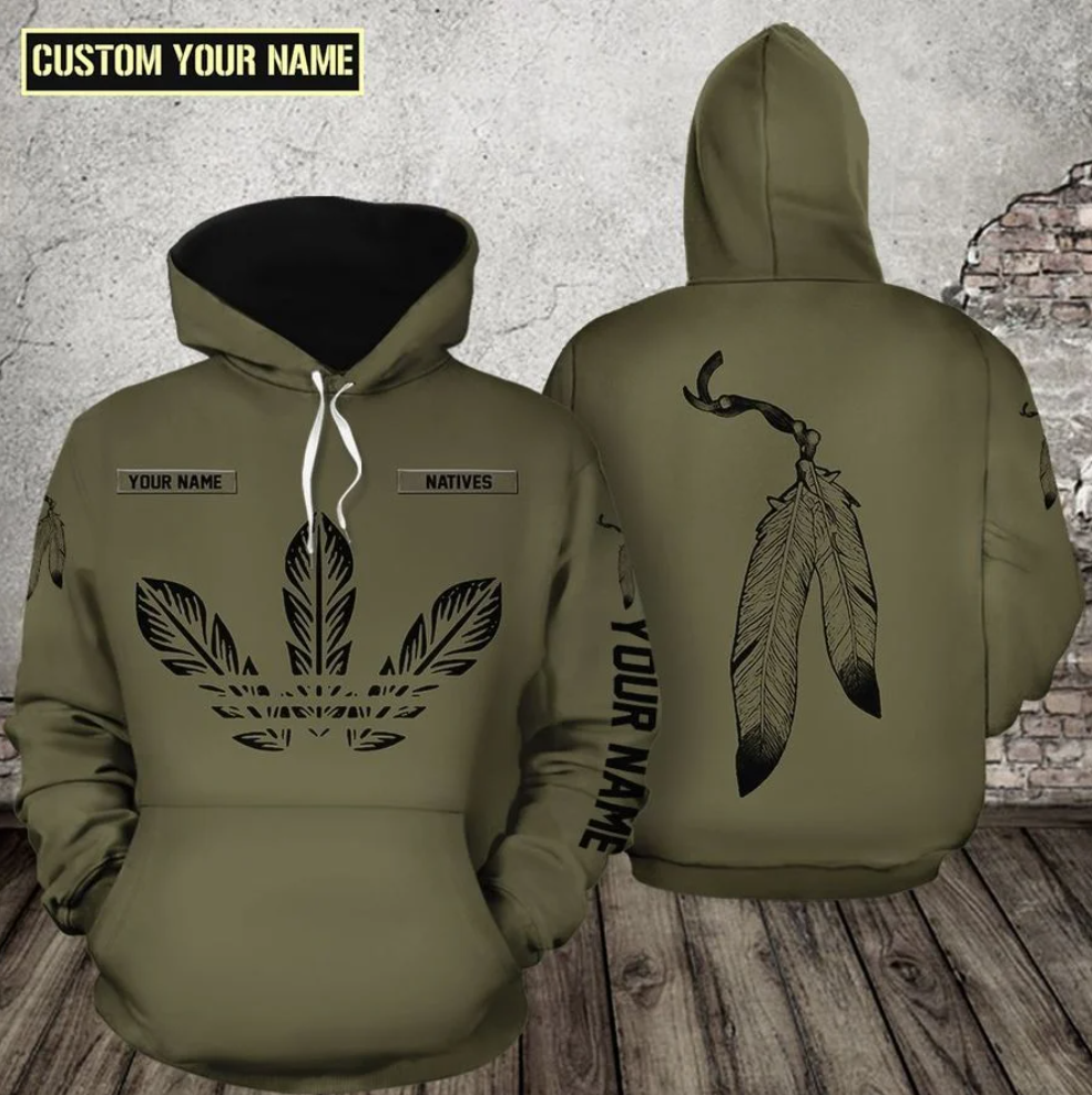 Native leather all over printed 3D hoodie