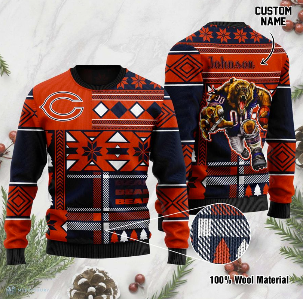 Personalized Chicago Bears ugly sweater