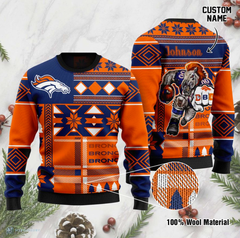 Personalized Denver Broncos ugly sweater