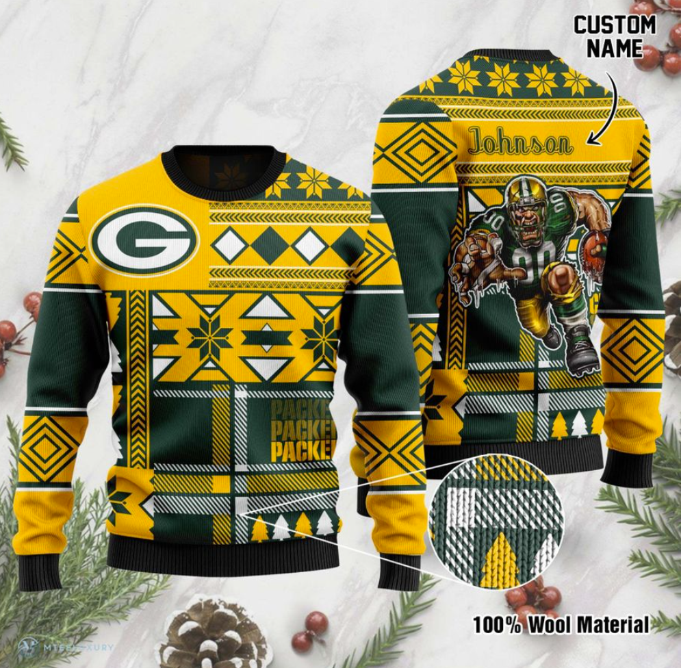 Personalized Green Bay Packers ugly sweater