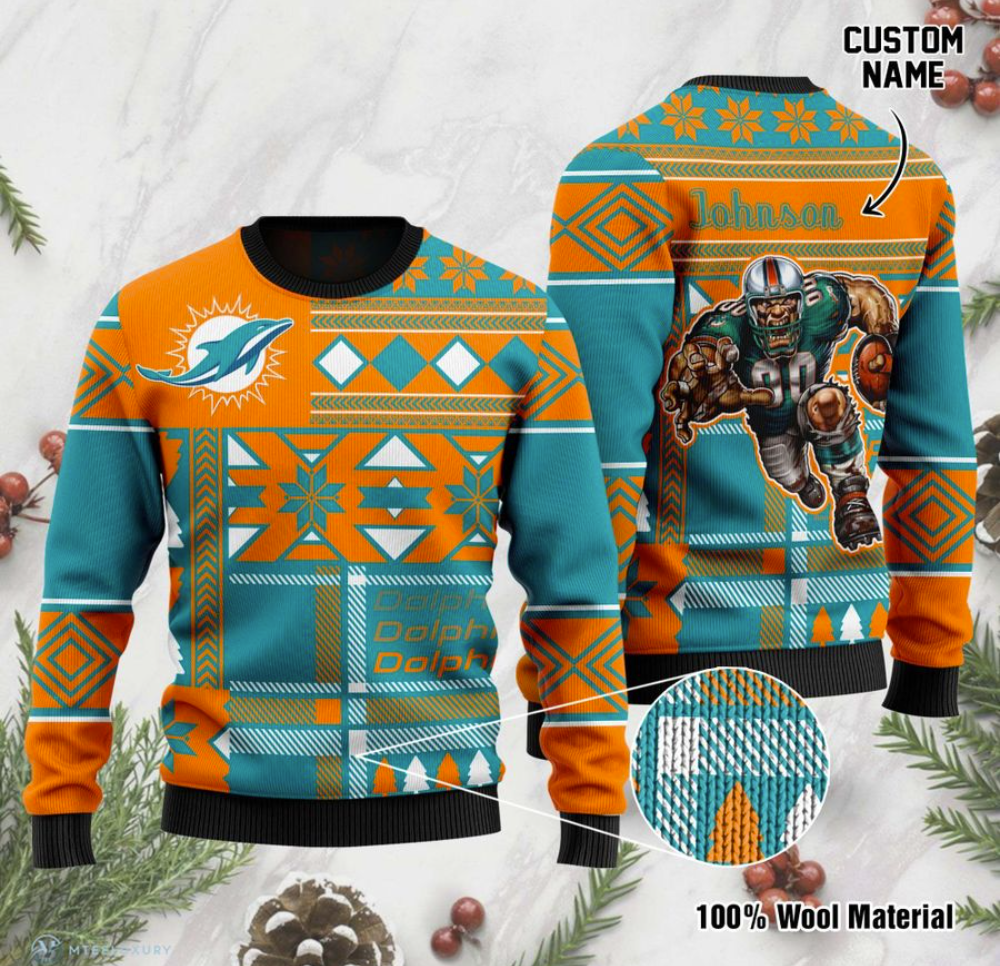 Personalized Miami Dolphins ugly sweater