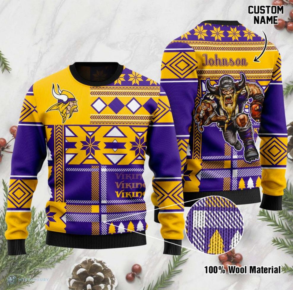 Personalized Minnesota Vikings ugly sweater