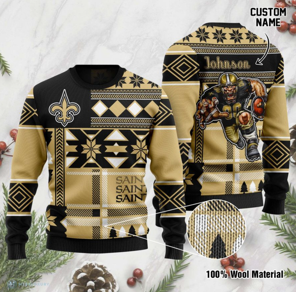 Personalized New Orleans Saints ugly sweater