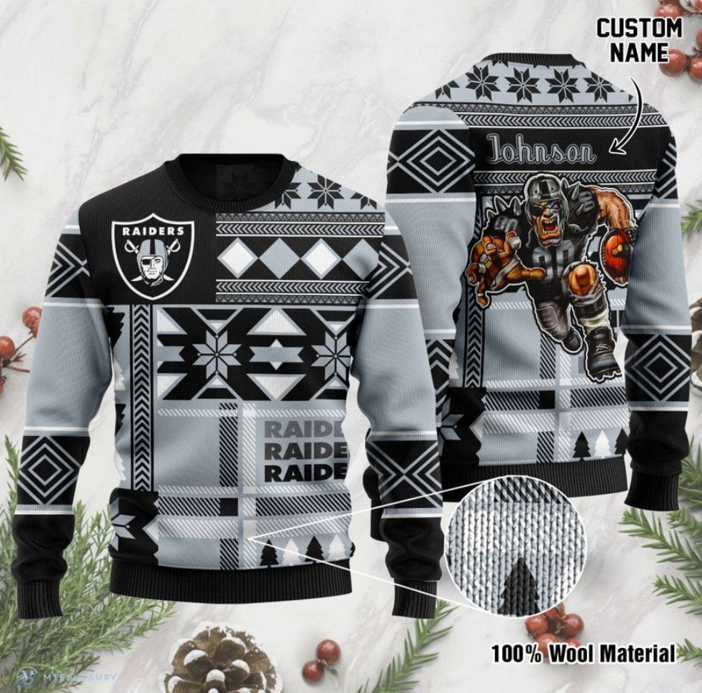 Personalized Oakland Raiders ugly sweater