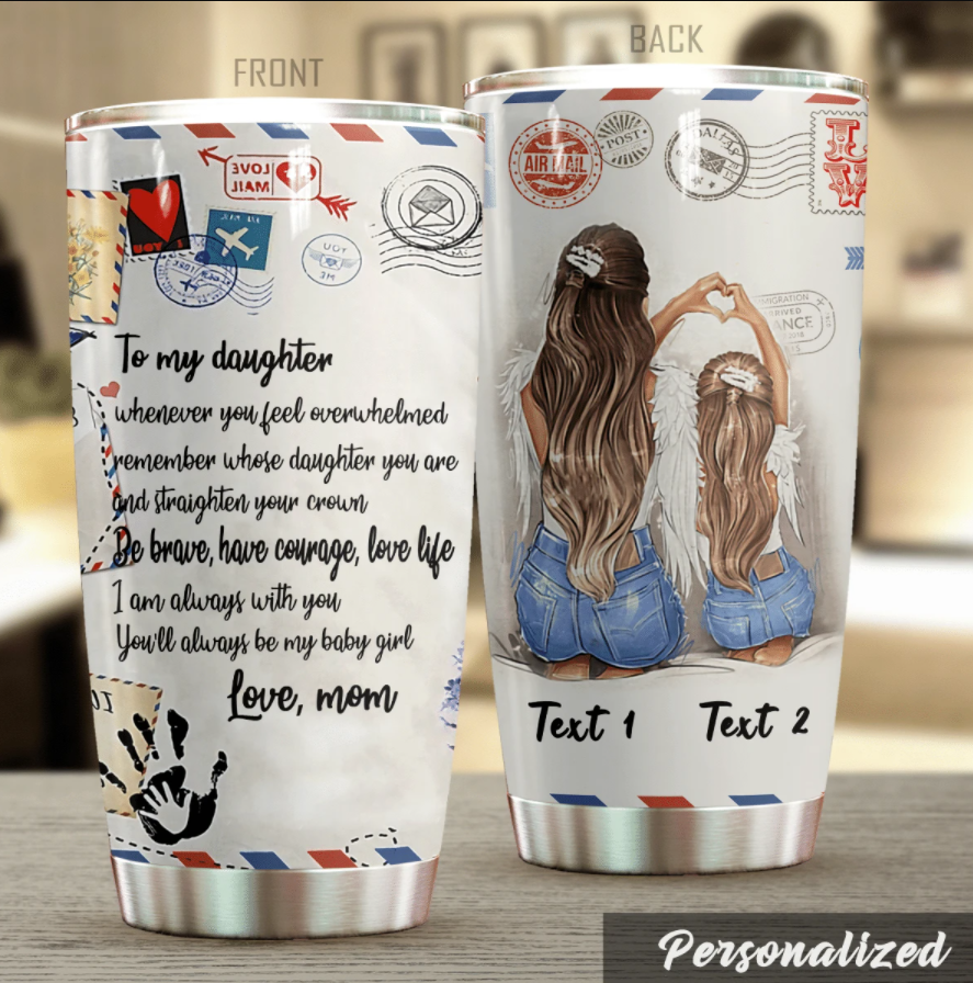 Personalized airmail mom to my daughter tumbler