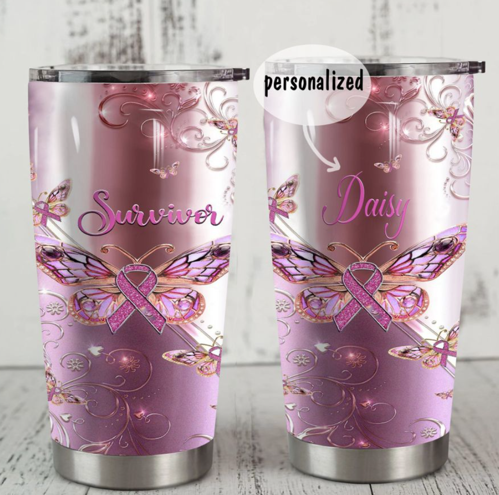 Personalized butterfly breast cancer awareness survivor tumbler