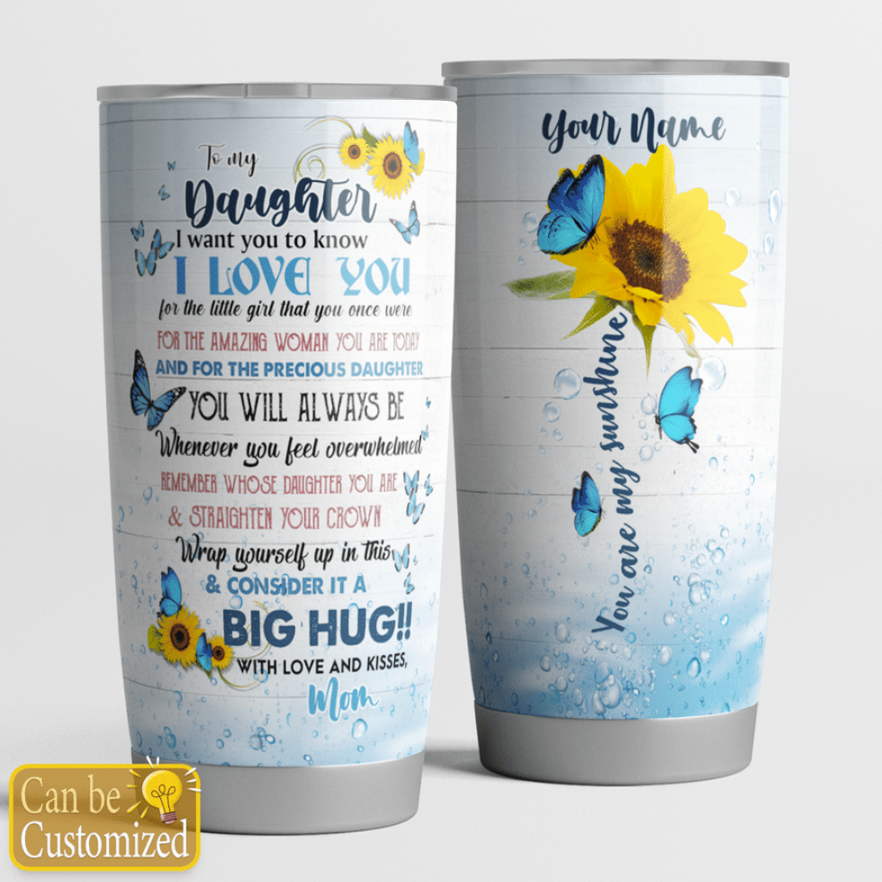 Personalized sunflower mom to my daughter tumbler