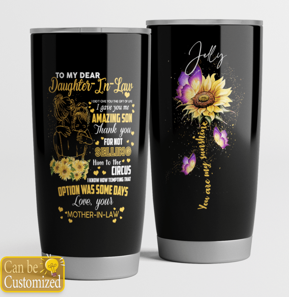 Personalized sunflower to my dear daughter in law tumbler