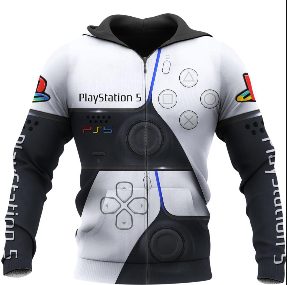 PlayStation 5 all over printed 3D zip hoodie