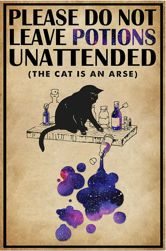 Please do not leave potions unattended the cat is an arse poster