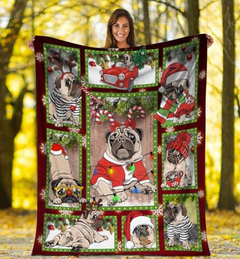 Pug Merry Christmas 3D quilt