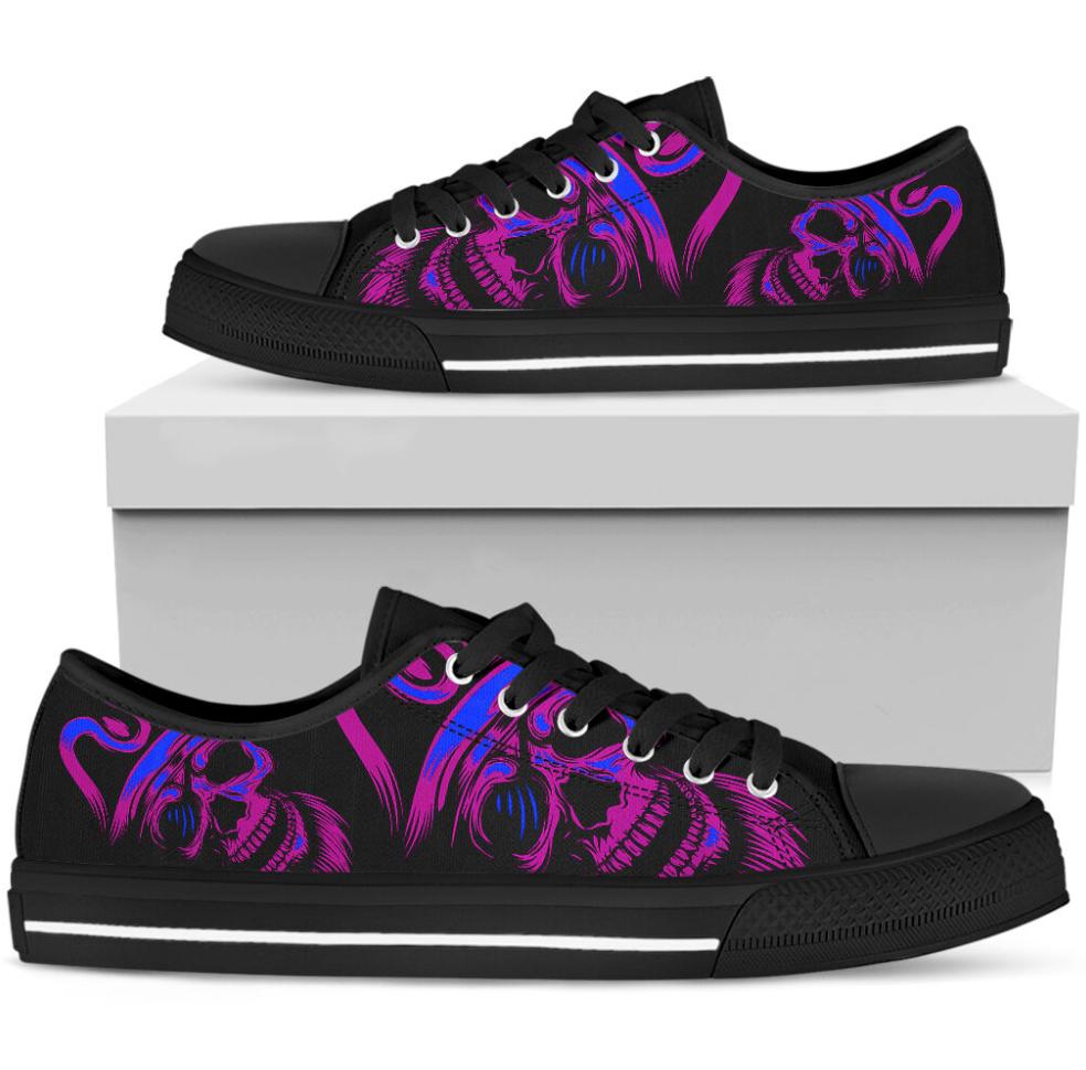 Purple skull low top shoes 1