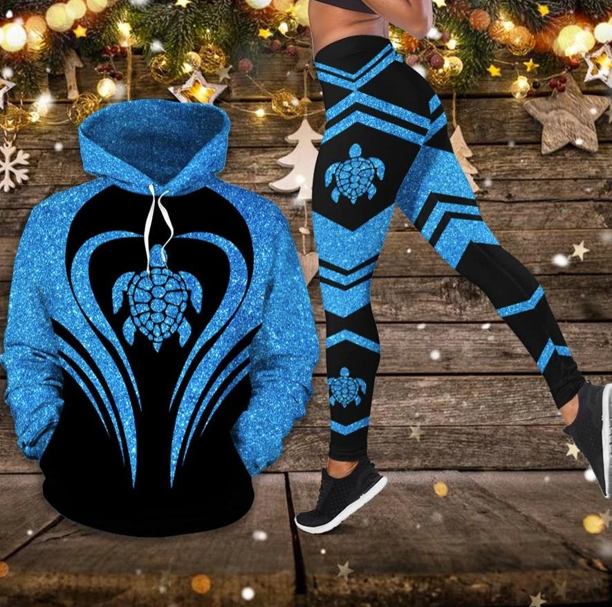Sea turtle glitter 3D hoodie and legging