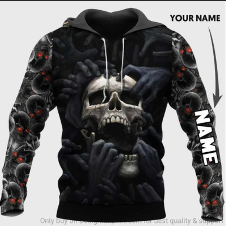 Skull and black hand all over printed 3D hoodie
