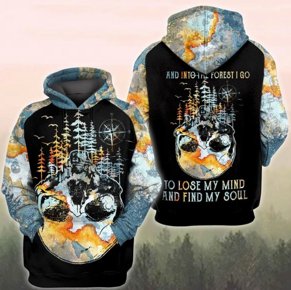 Skull and into the forest i go to lose my mind and find my soul all over printed 3D hoodie