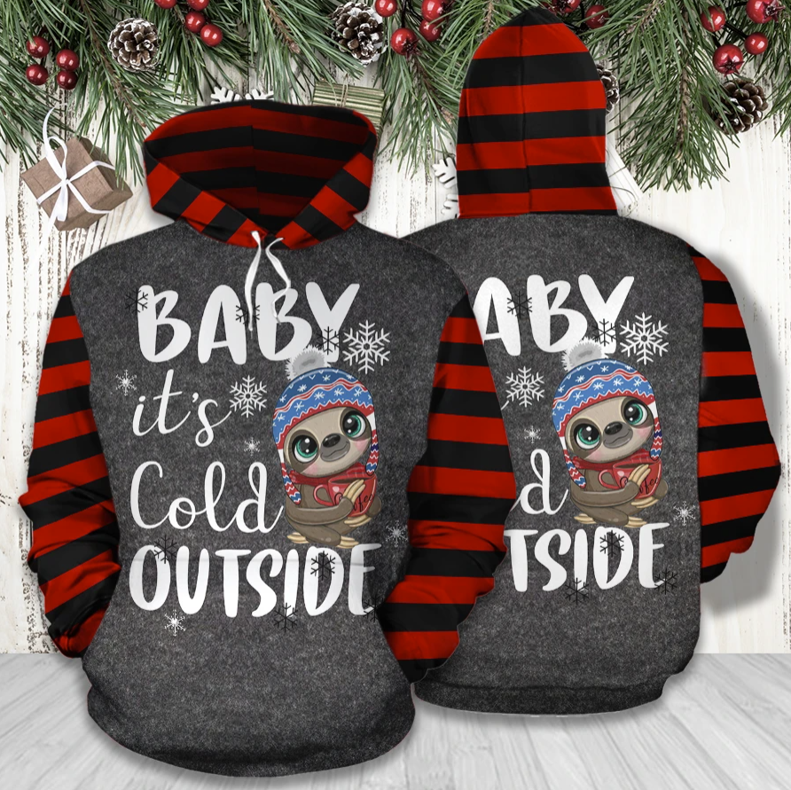 Sloth baby it's cold outside all over printed 3D hoodie