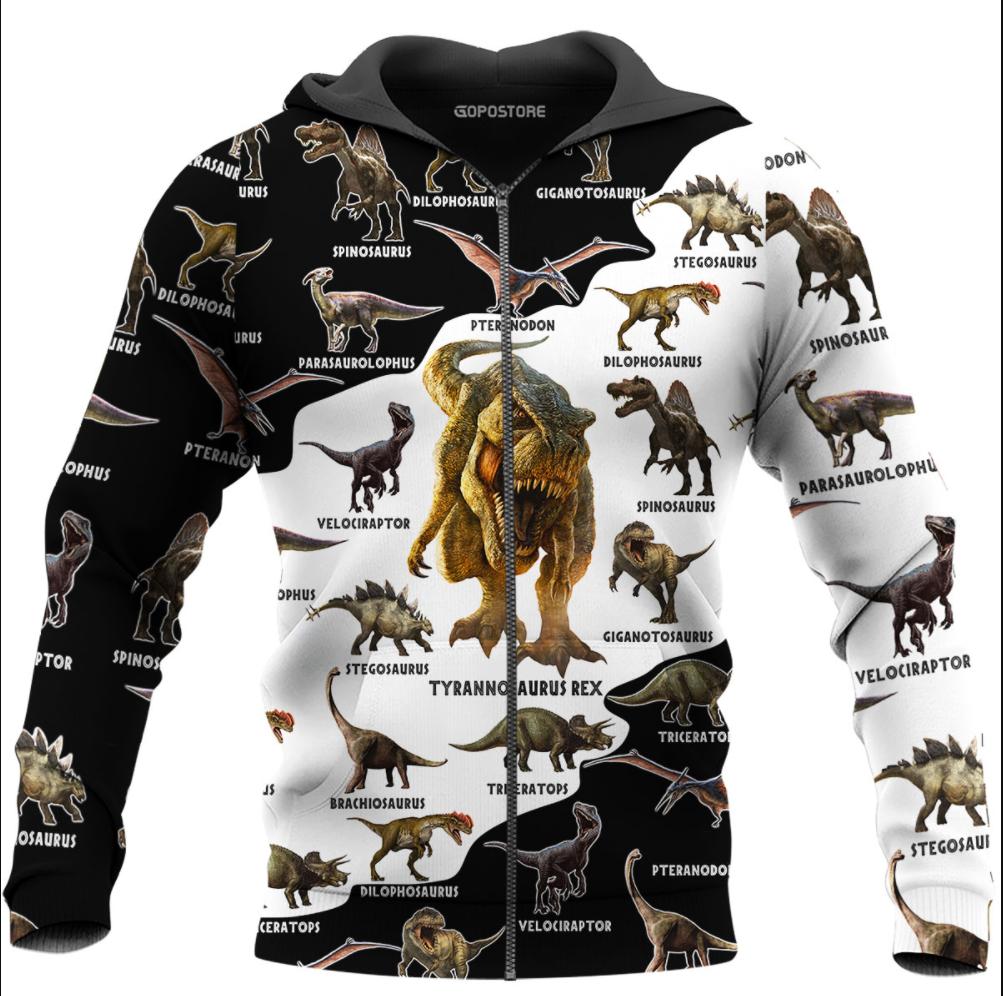 Type of dinosaurs all over printed 3D zip hoodie